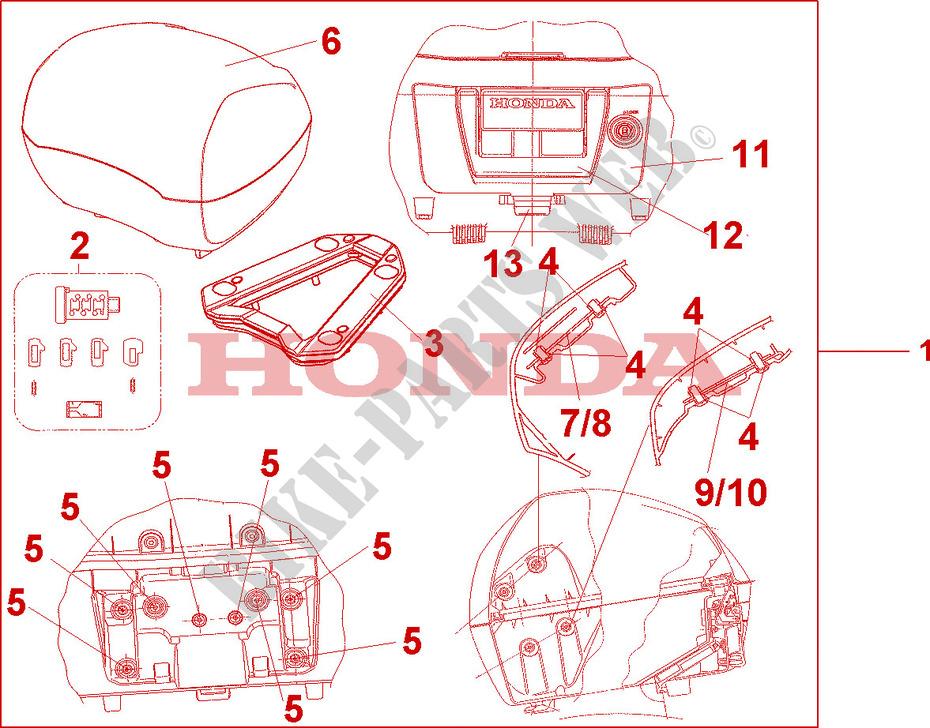 31l top box prominence red vfr 1200 vfr1200fa 2010. Black Bedroom Furniture Sets. Home Design Ideas