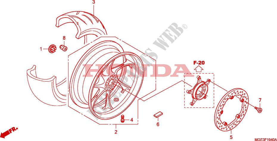 Rear Wheel Frame Vfr1200fa 2010 Vfr 1200 Moto Honda Motorcycle
