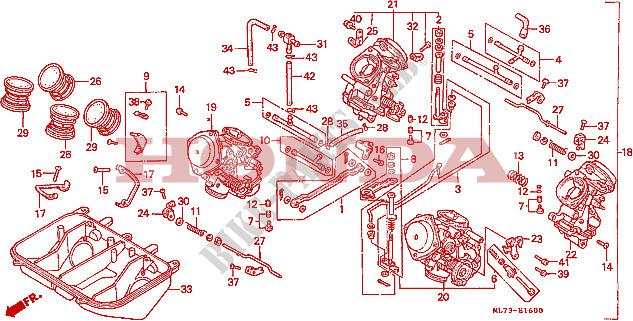 Carburetor  1  For Honda Vfr 750 1986   Honda Motorcycles  U0026 Atvs Genuine Spare Parts Catalog