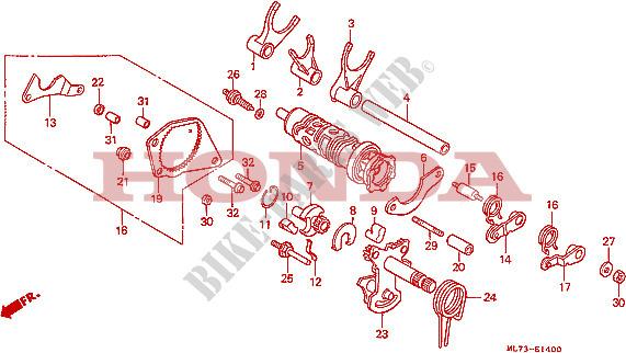 Gearshift Drum  1  For Honda Vfr 750 1986   Honda Motorcycles  U0026 Atvs Genuine Spare Parts Catalog