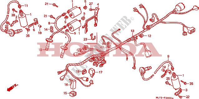 honda moto 750 vfr 1988 vfr750fj frame wire harness/ ignition coil