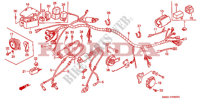 Wire Harness Ignition Coil For Honda Vt 1100 Shadow 1994