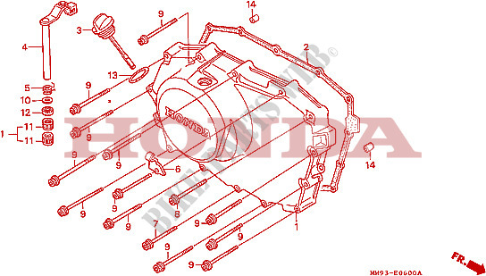 Right Crankcase Cover For Honda Transalp 600 1990   Honda