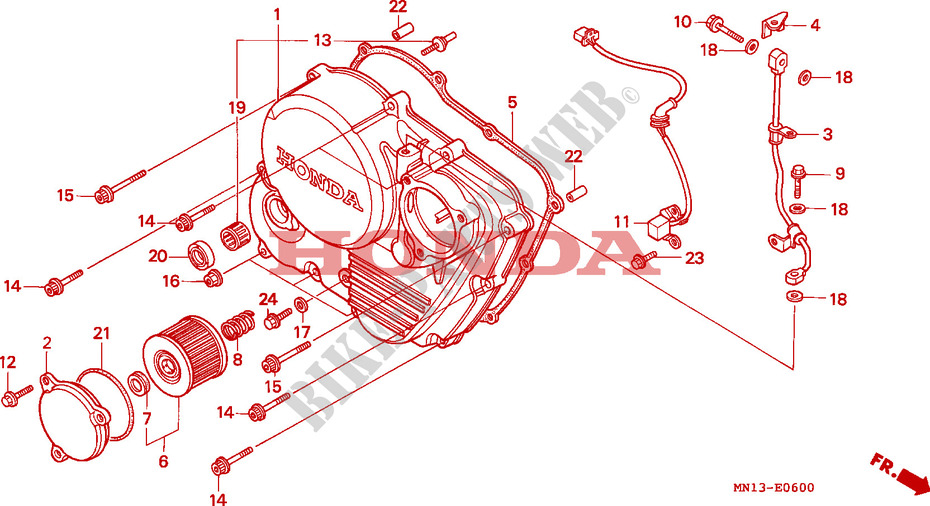 Honda MOTO 600 XR 2000  XR600RY Engine RIGHT CRANKCASE COVER