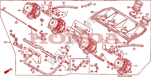 CARBURETOR (ASSY.) for Honda CBR 600 F 1988 # HONDA Motorcycles & ATVS  Genuine Spare Parts CatalogBike Parts-Honda