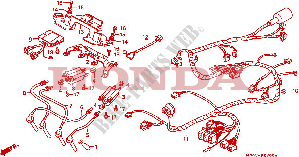 WIRE HARNESS for Honda CBR 600 F 1988 # HONDA Motorcycles ... on