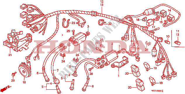 Wire Harness For Honda Steed 600 1993   Honda Motorcycles
