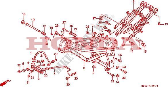 Frame  Vfr750fr  Fs  Ft  Fv  For Honda Vfr 750 1995   Honda Motorcycles  U0026 Atvs Genuine Spare Parts