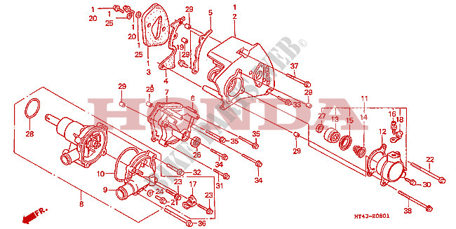 Water Pump  Vfr750fr  Fs  Ft  Fv  For Honda Vfr 750 1994   Honda Motorcycles  U0026 Atvs Genuine Spare