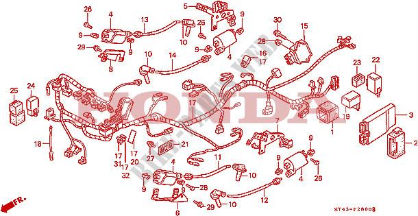 Wire Harness Vfr750fl Fm Fn Fp Frame Vfr750fl 1990 Vfr 750 Moto