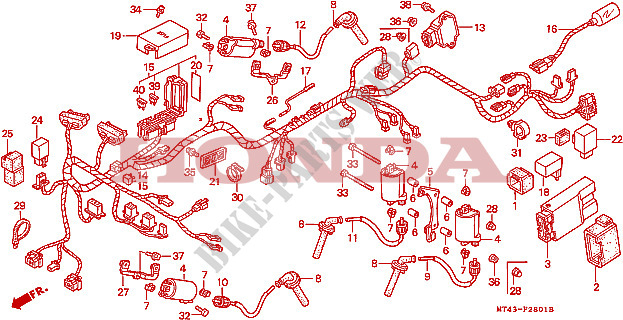 wire harness vfr750fr fs ft fv frame vfr750ft 1996 vfr 750 moto rh bike parts honda com  honda vf 750 wiring diagram