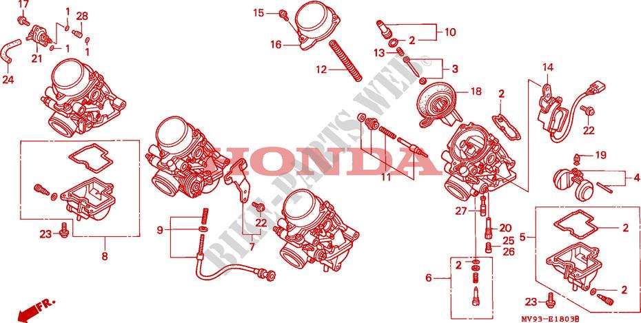Carburador Kit De Reparación Honda Cbr 1000 Ft 1996 1000 Cc