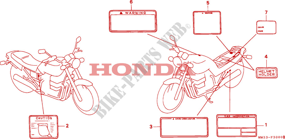 CAUTION LABEL CB750 Frame CB750M 1991 CB 750 MOTO Honda motorcycle ...