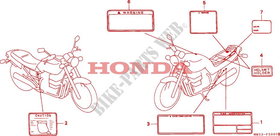 CAUTION LABEL CB750 Frame CB750N 1992 CB 750 MOTO Honda motorcycle ...