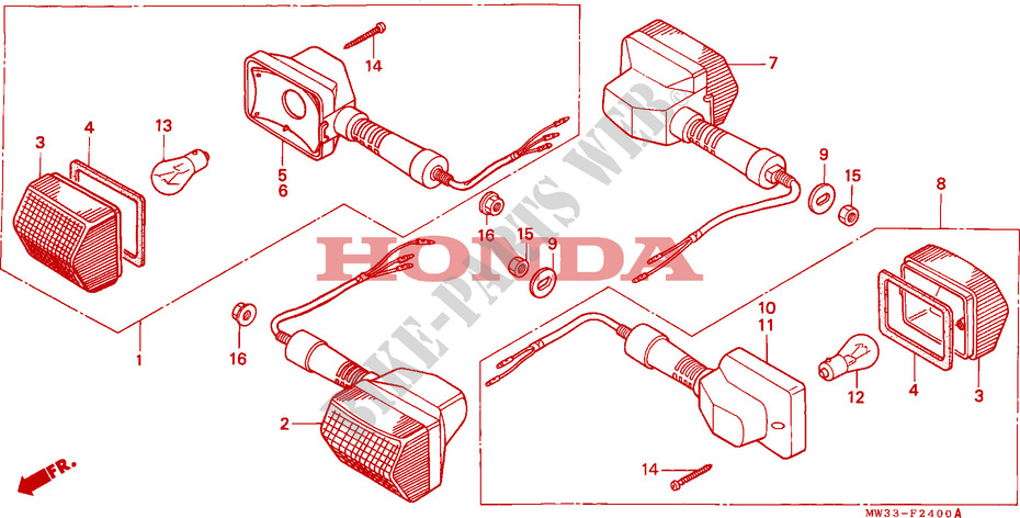 honda moto 750 cb 1992 cb750n frame winker (cb750)