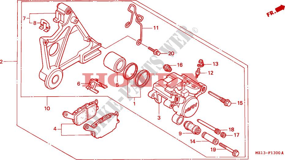 honda moto 1000 cb 1995 cb1000fs frame rear brake caliper