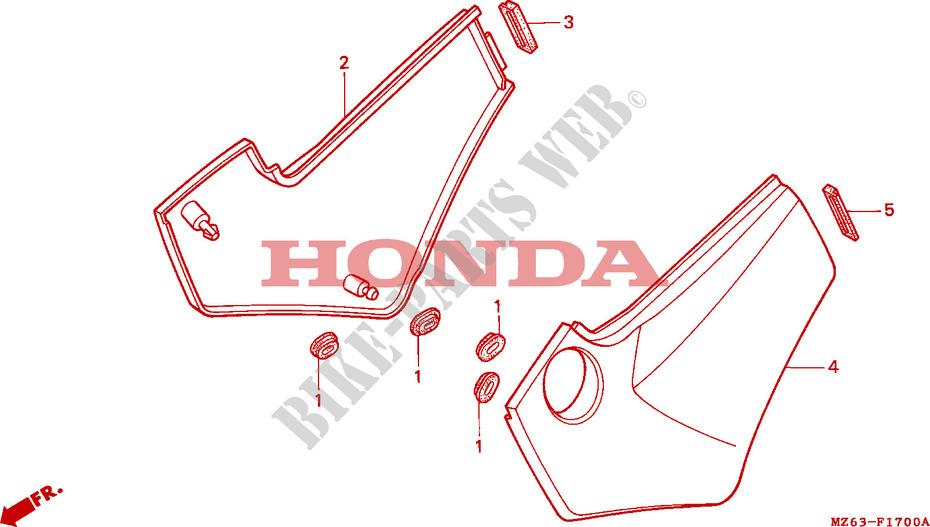 SIDE COVERS for Honda NTV 650 REVERE 1997 # HONDA Motorcycles & ATVS  Genuine Spare Parts CatalogBike Parts-Honda