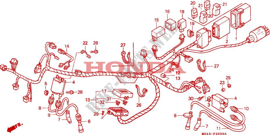 wire harness for honda ntv 650 revere 1996 # honda motorcycles & atvs  genuine spare parts catalog  bike parts-honda