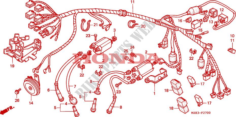 Wire Harness For Honda Shadow 600 Vlx Deluxe 1994   Honda