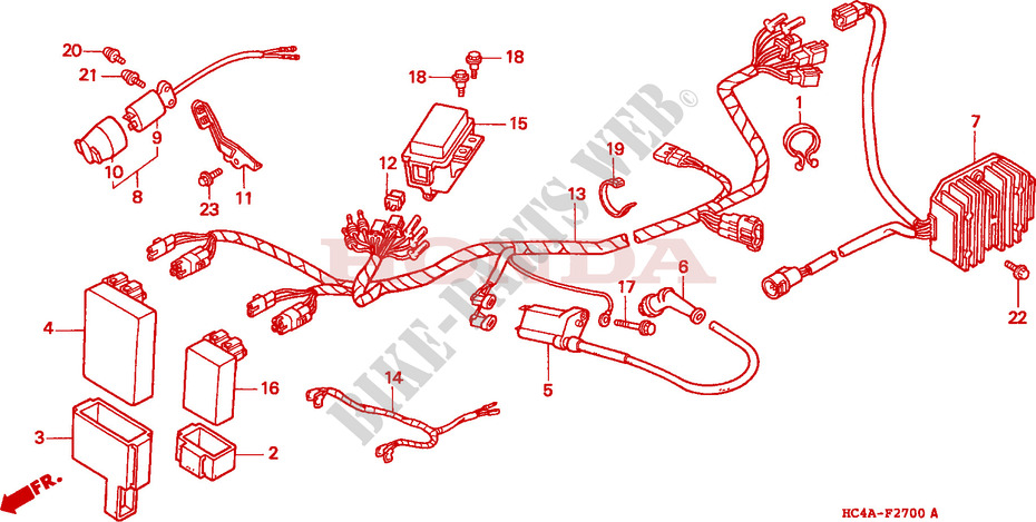 wire harness frame trx300fwn 1992 fourtrax 300 atv honda motorcycle rh bike parts honda com