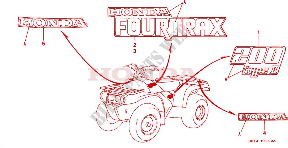 MARK TRX200D 9293 Frame TRX200DN 1992 FOURTRAX 200 ATV Honda
