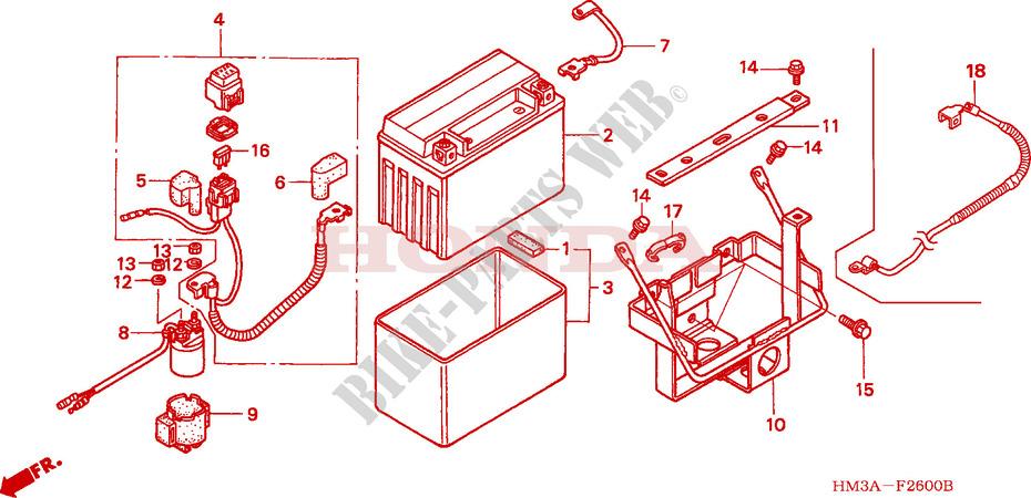 Honda Atv 300 Fourtrax 2004 Trx300ex4 Frame Battery