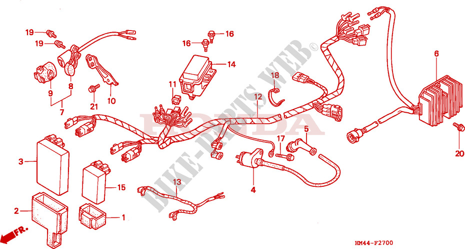 wire harness for honda trx 300 fourtrax 1998  honda
