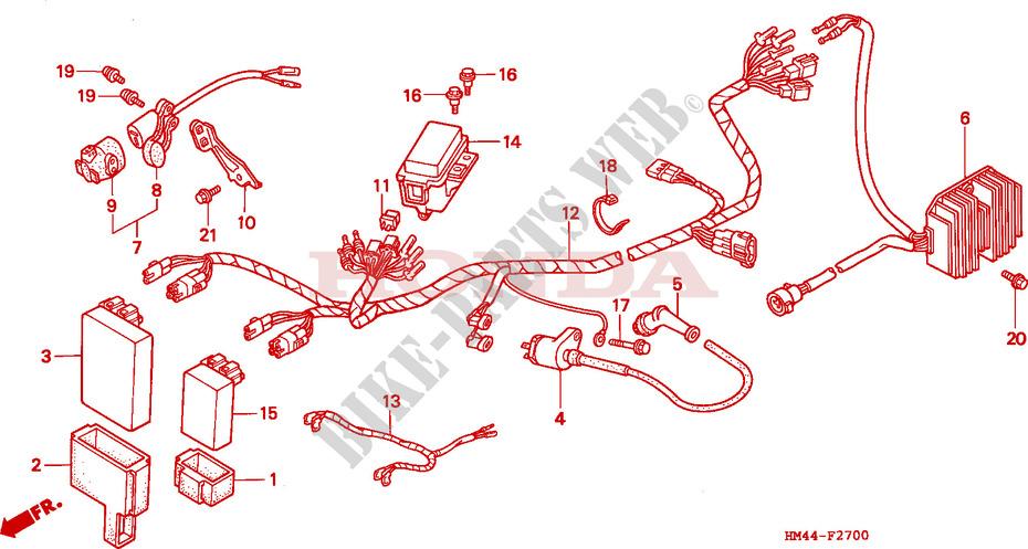 Wire Harness For Honda Trx 300 Fourtrax 1999 Honda Motorcycles Atvs Genuine Spare Parts Catalog