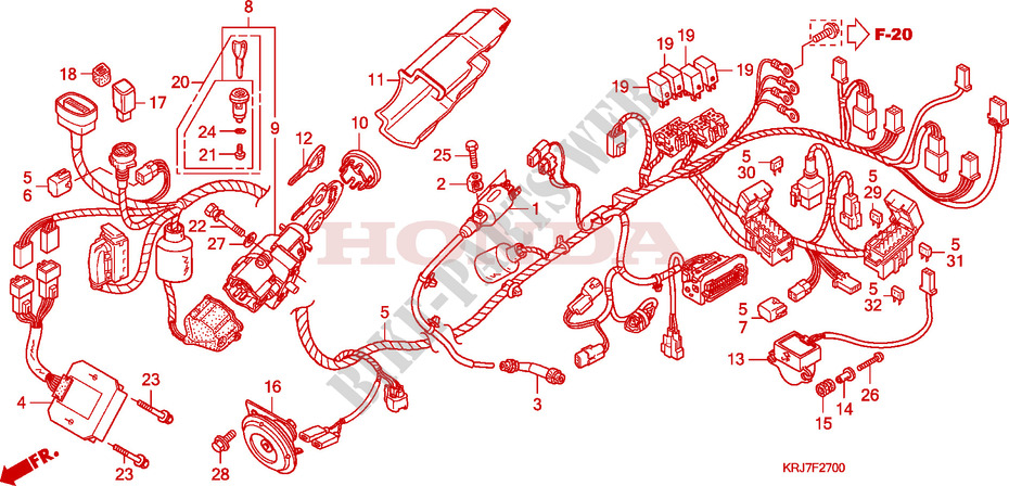 honda scooter 125 s-wing 2009 fes125a9 frame wire harness