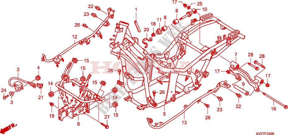 frame body for honda reflex 250 sport 2008 honda. Black Bedroom Furniture Sets. Home Design Ideas