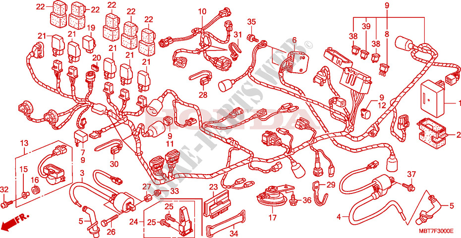 wire harness xl1000v xl 1000 varadero xl1000va 2010 europe rh bike parts honda com honda xl 125 varadero wiring diagram 2002 Honda Odyssey Radio Wire Diagram