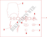 FLY SCREEN Honda motorcycle microfiche diagram CBF500A4 2005 CBF 500 ABS