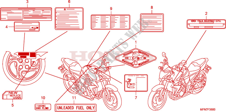 CAUTION LABEL(1) for Honda CB 1000 R ABS 2009