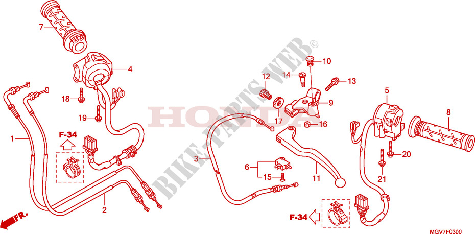 HANDLE LEVER/SWITCH/CABLE Honda microfiche motorcycle CBR600FAB 2011 CBR 600 F ABS