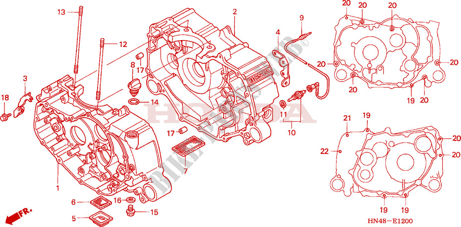 honda atv 350 fourtrax 2004 trx350fm4 engine crankcase