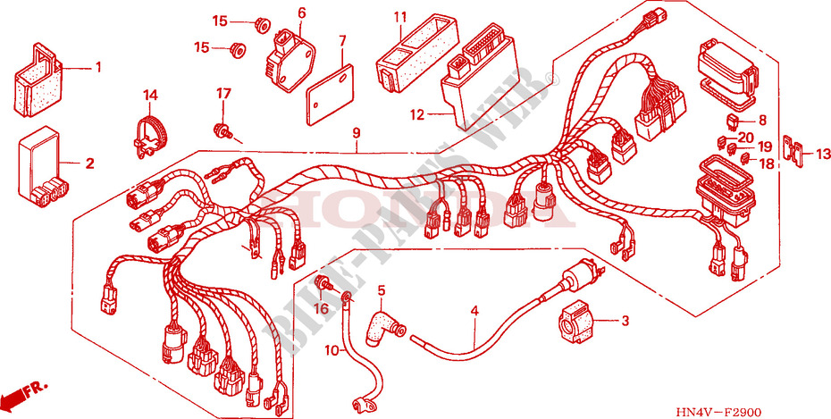 2006 honda rancher 350 wiring diagram wire harness - fourtrax rancher 350 4x4 trx350fm6 2006 usa ... #6