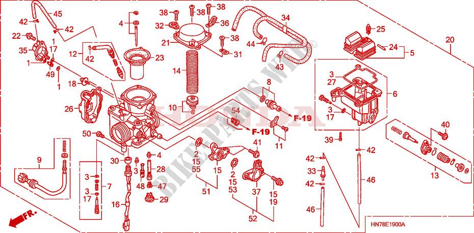 carburetor engine trx400fa5 2005 fourtrax 400 atv honda motorcycle Polaris Sportsman 850 Engine Diagram honda atv 400 fourtrax 2005 trx400fa5 engine carburetor