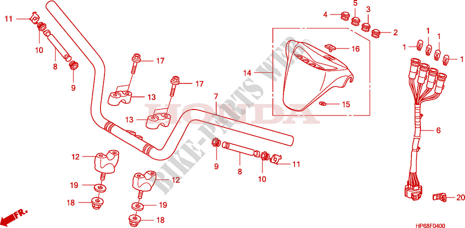 HANDLE PIPE for Honda TRX 700 XX 2011 # HONDA Motorcycles ... on