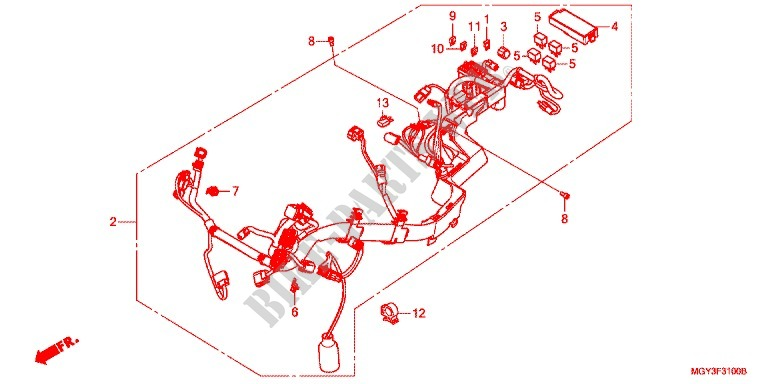 Wire Harness  Battery For Honda Crossrunner 800 2011