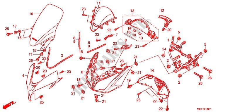 Front Cowl  Fjs600a9 2ko  Fjs600ab  Db  For Honda Silver Wing 600 Abs 2012   Honda Motorcycles