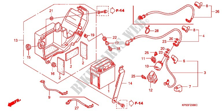 Wire Harness  Battery For Honda Crf 230 F 2011   Honda