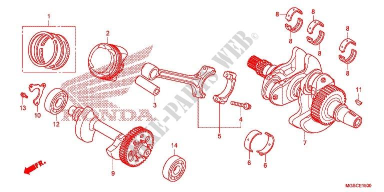 CRANKSHAFT PISTON Honda SCOOTER 700 INTEGRA 2012 NC700DC E_15 crankshaft piston engine nc700dc 2012 integra 700 scooter honda