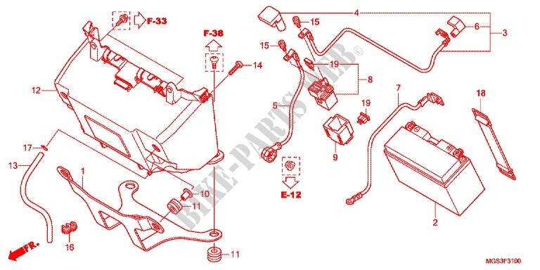 WIRE HARNESS/BATTERY for Honda NC 700 X ABS 35KW 2012 ... on