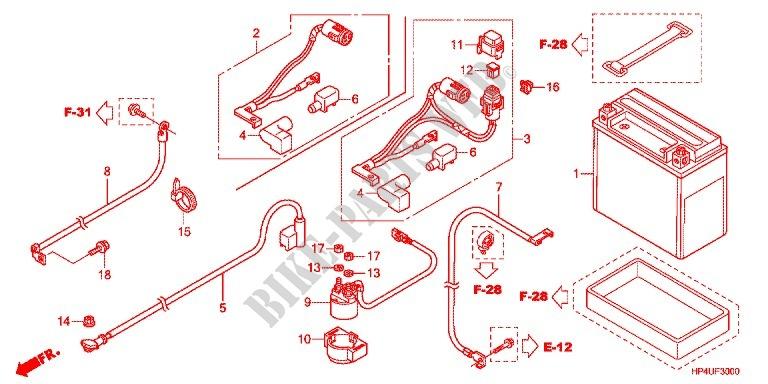 Honda ATV 420 Fourtrax 2012 Trx420fmc Frame Wire Harnessbattery: Fmc Wire Harness At Outingpk.com
