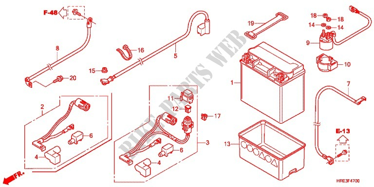 Wire Harness Battery For Honda Fourtrax 500 Foreman 4x4 Power Steering 2012 Honda Motorcycles Atvs Genuine Spare Parts Catalog