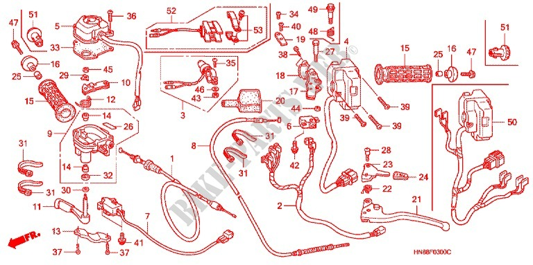 Lever Switch Cable  1  For Honda Fourtrax 680 Rincon 2012