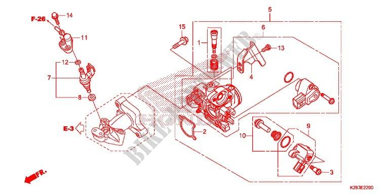 corps de papillon injecteur de carburant sh mode 125 anc125e 2014 france anc125e honda. Black Bedroom Furniture Sets. Home Design Ideas