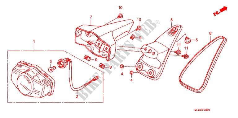 taillight 2 frame cb1100ad bs 2015 cb 1100 moto honda motorcycle # honda  motorcycles & atvs genuine spare parts catalog