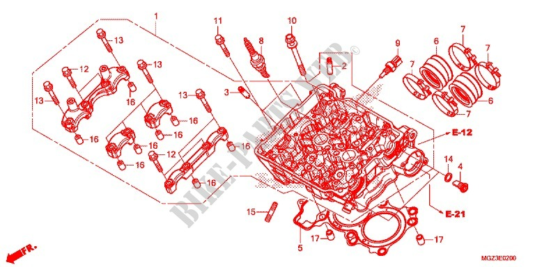 CYLINDER   HEAD for Honda CBR 500 R ABS HRC TRICOLOR 2014