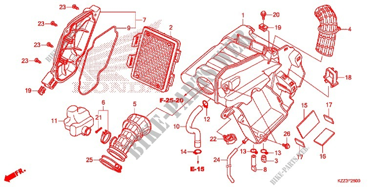 Honda MOTO 250 CRF 2014  CRF250LE Frame FRONT COVER/AIR CLEANER